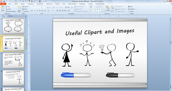 Drawing clipart presentation. Awesome whiteboard symbols powerpoint