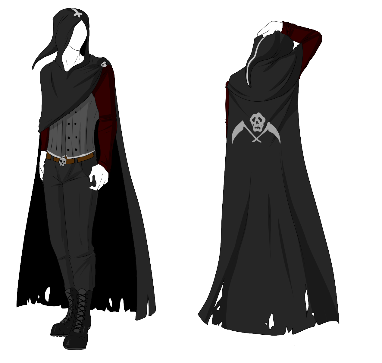 drawing capes male assassin outfit