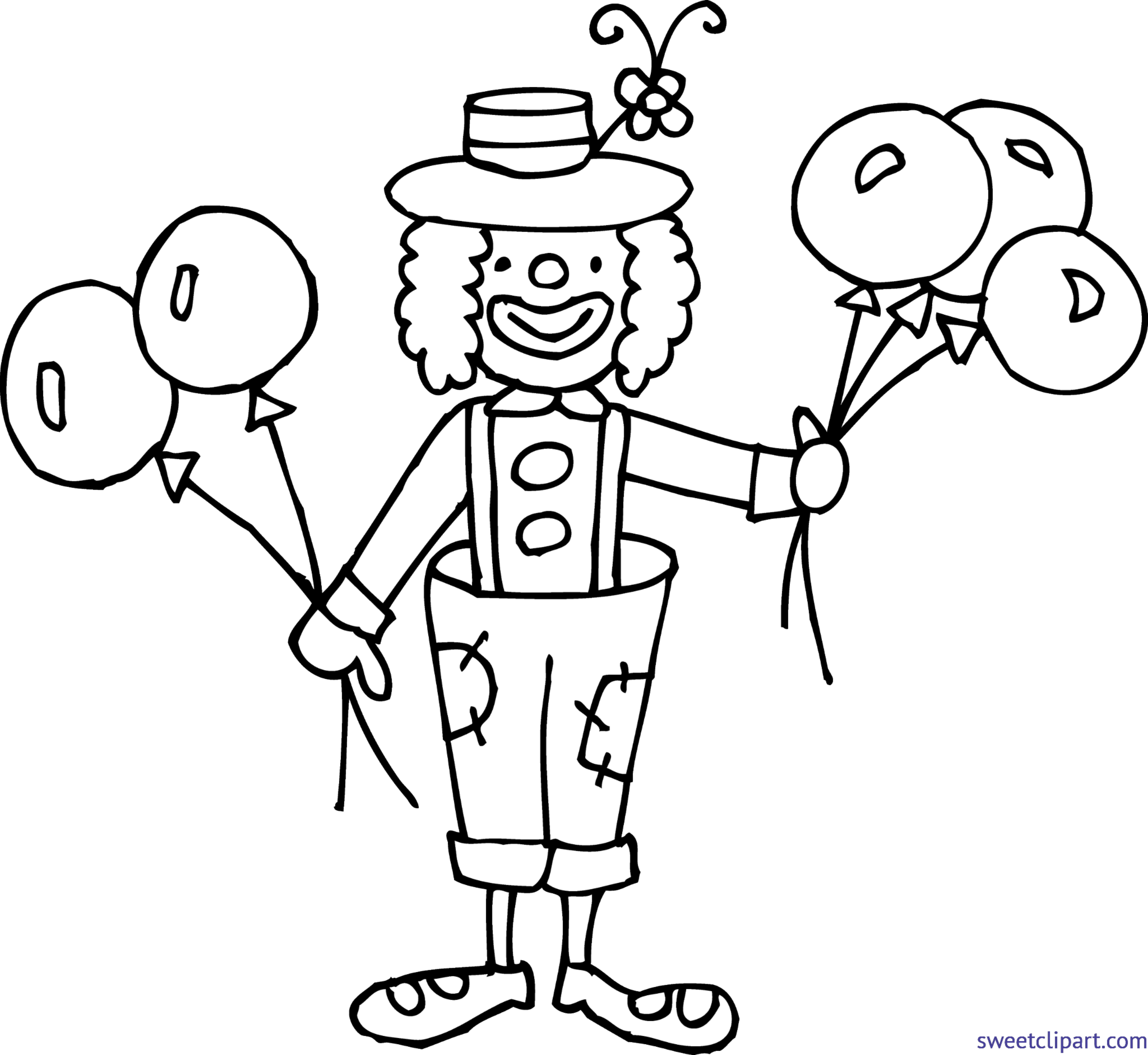 Drawing clowns clow. Clown coloring page clip