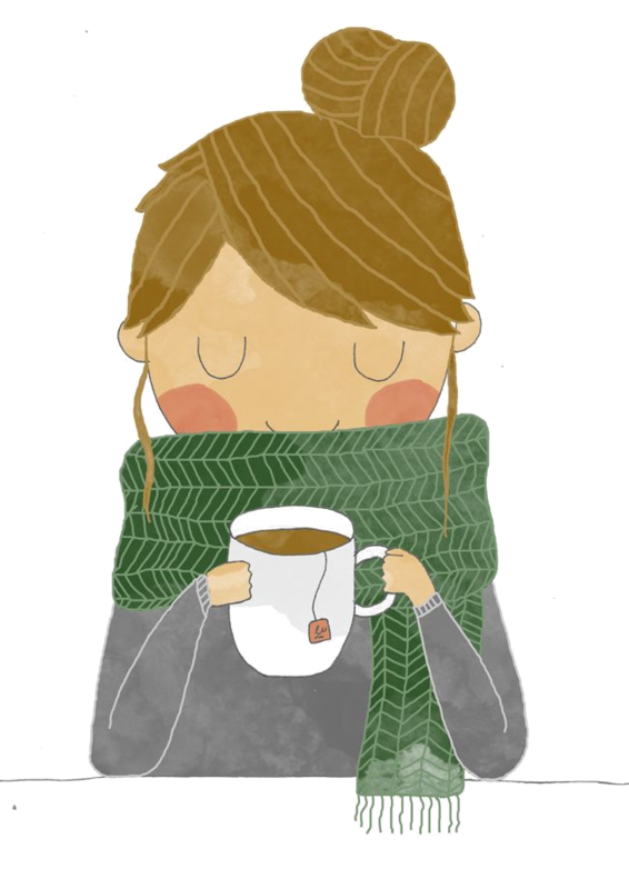 Drawing coffee girl. People illustration individual person