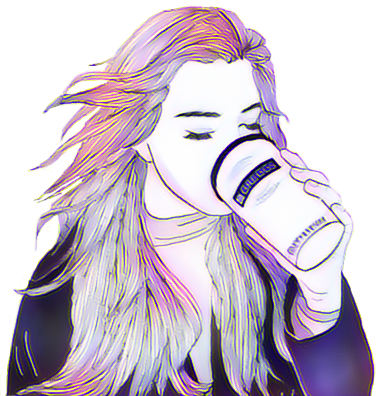 Drawing coffee girl. Magiceffects nightcore beauty color