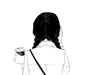 Drawing coffee girl. Images about outline