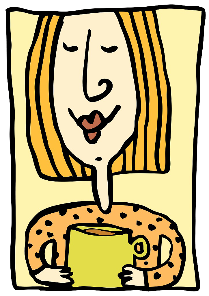 Drawing coffee girl. Cup cafe clip art