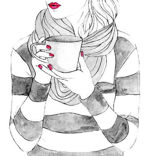 Drawing coffee girly. Vintage girl png by