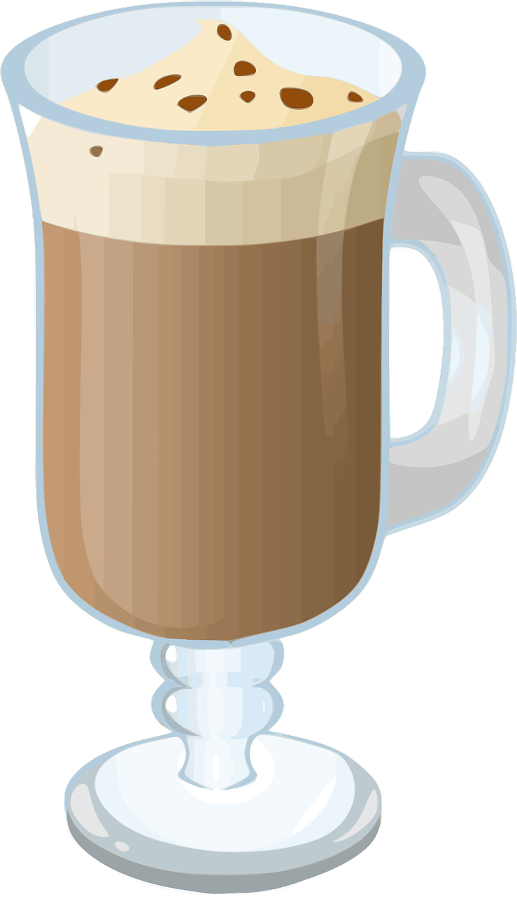 Drawing coffee hot chocolate. Assets collection game glass