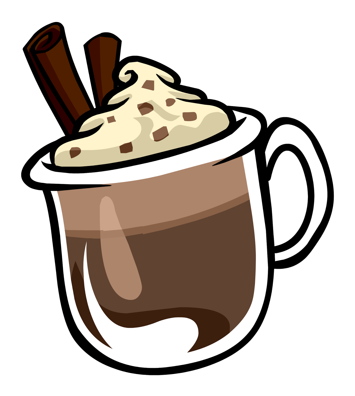 Drawing coffee hot cocoa. Collection of chocolate