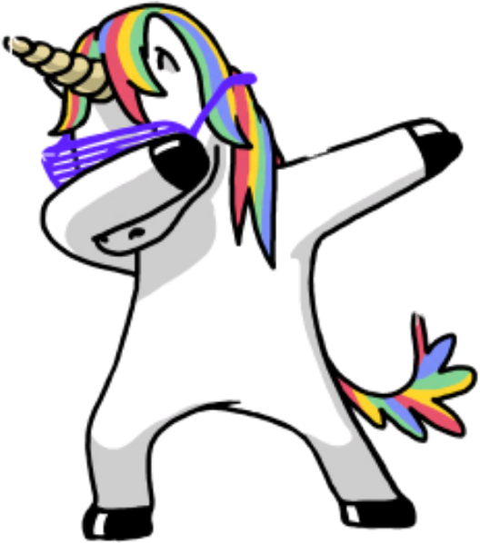 Dabbing unicorn png. Collage cute colorful colorsplash