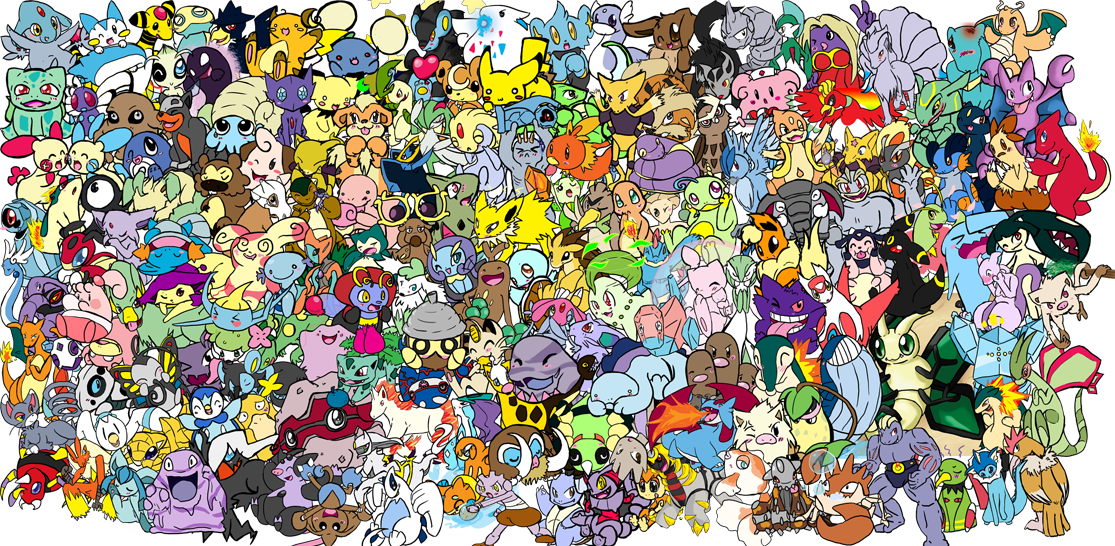 Drawing collages fan art. Adorable pokemon collage by