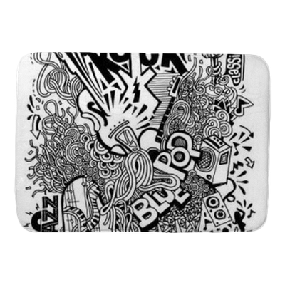 Drawing mat doodle. Hand collage with musical
