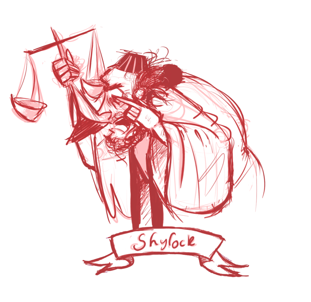 Drawing collages fan art. Shylock the merchant of