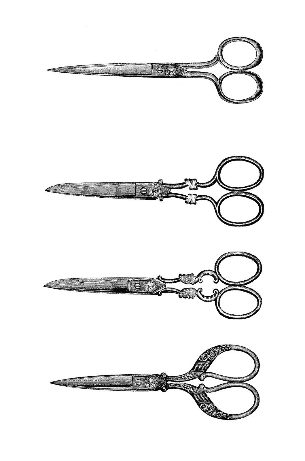 Shears drawing old fashioned. Digital stamp design free
