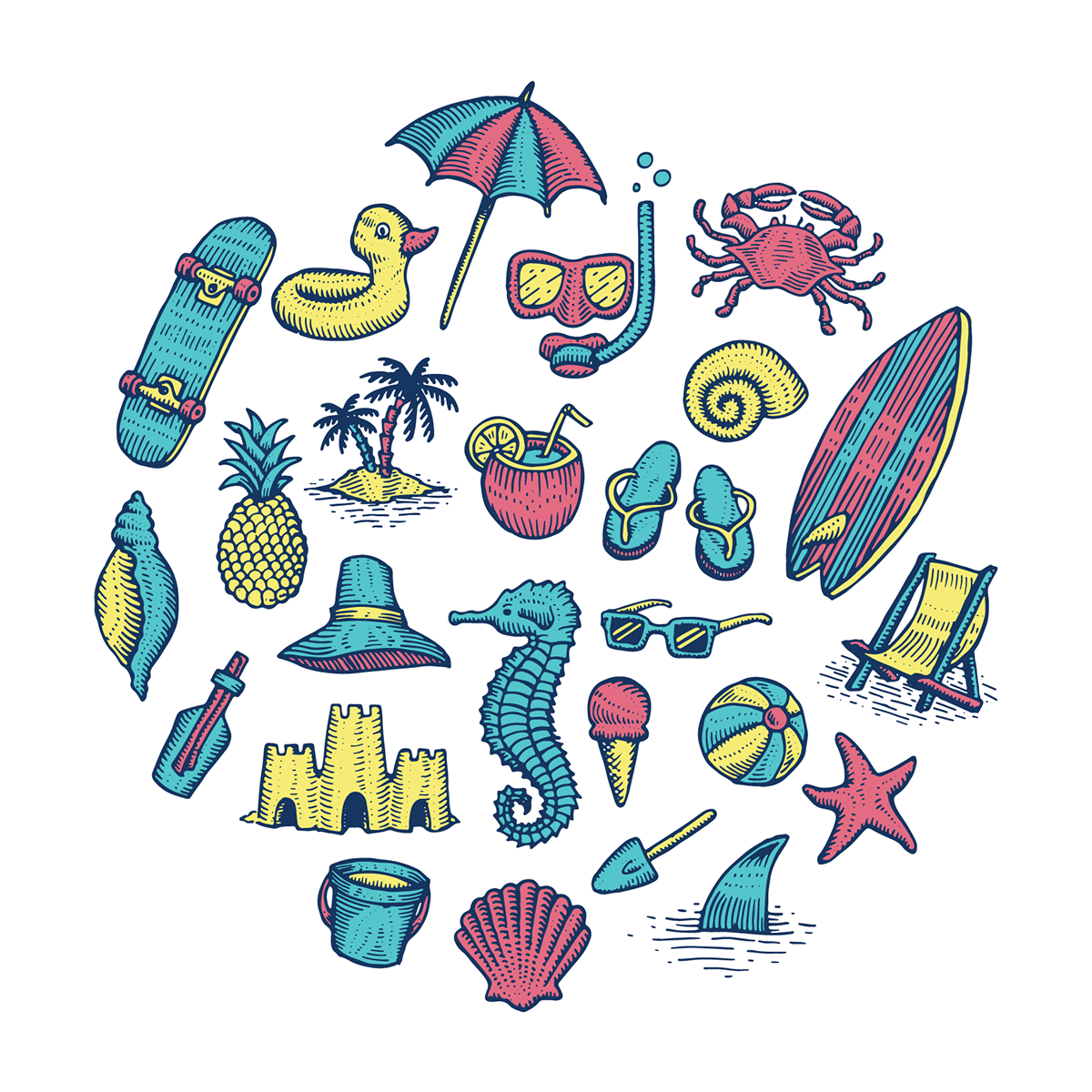 Drawing collages simple dream. Beach icons on behance