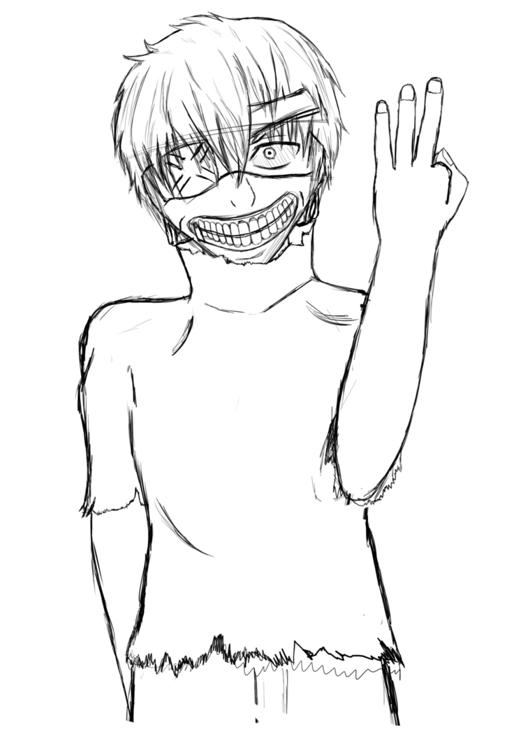 Drawing collarbones face. Kaneki fan art wip