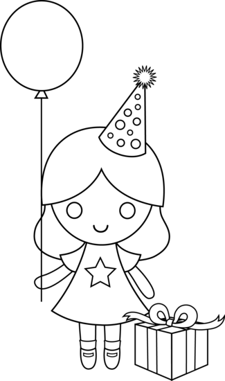 Cap clip coloring page. Birthday drawing for kids