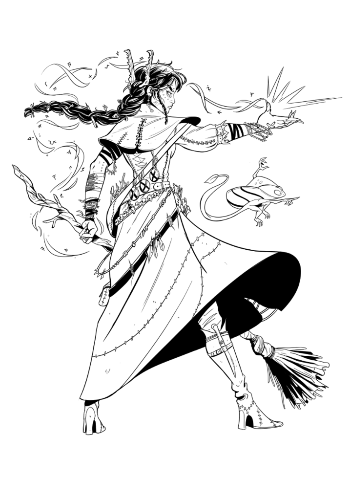 Drawing comparisons mage. Witch hand press