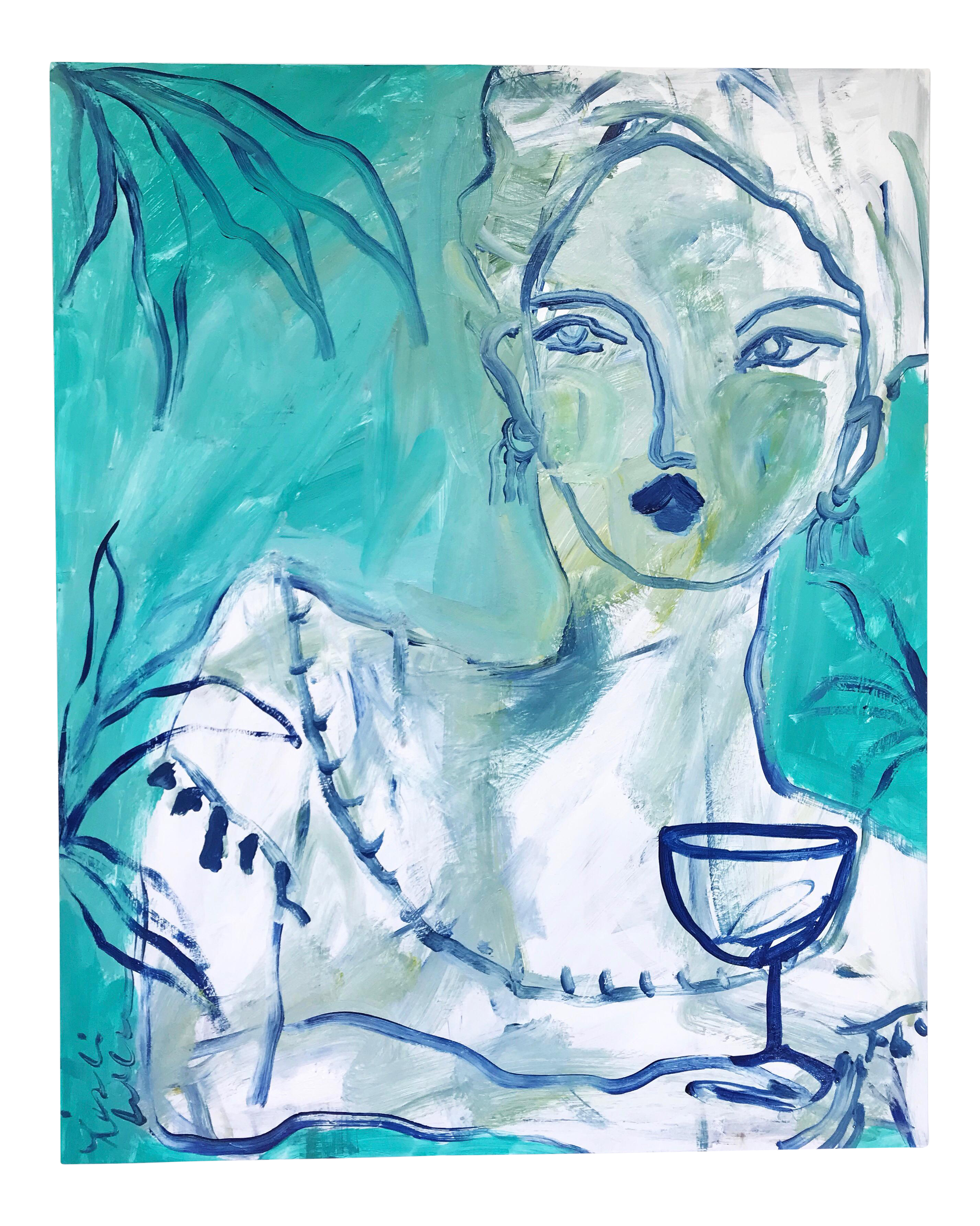 Drawing compositions acrylic. Flowers and wine reclining