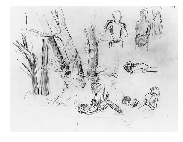 Drawing compositions nature. Seated men and chair