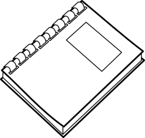 Drawing computers black and white. Clipart notebook pencil in