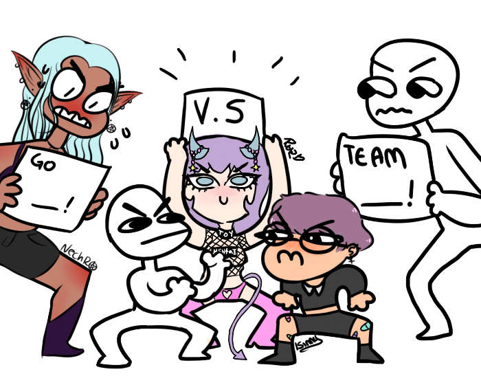 Drawing computers squad. Your character here draw