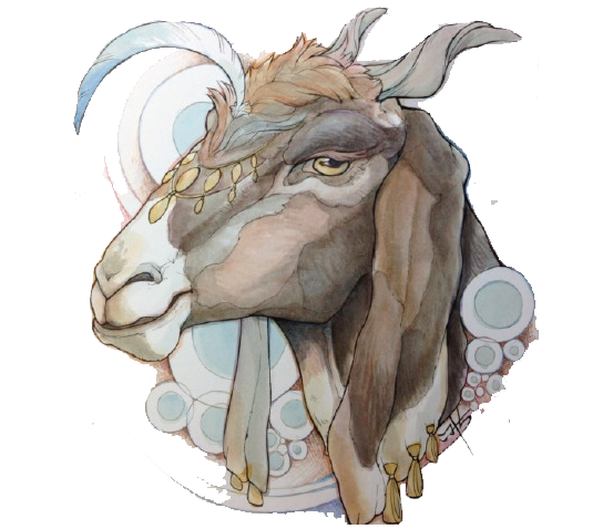 Drawing concept. Goat art illustration donkey