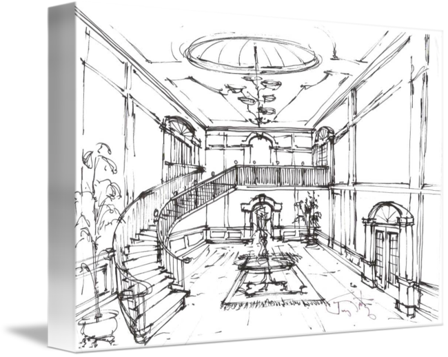 Drawing concept. Gateway sketch lobby by