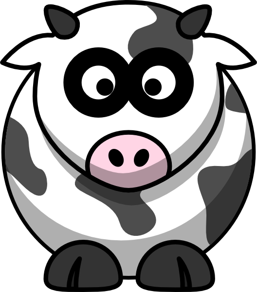 Drawing cow anime. Brown and white cartoon