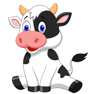 Farm transparent cute cartoon. Funny cows animal images