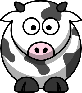 Drawing cow cute animal. Set of cartoon animals
