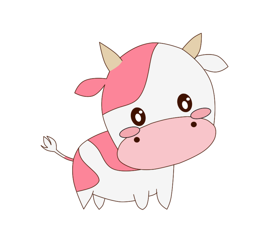 Drawing cow cute cartoon. Cattle chibi you have