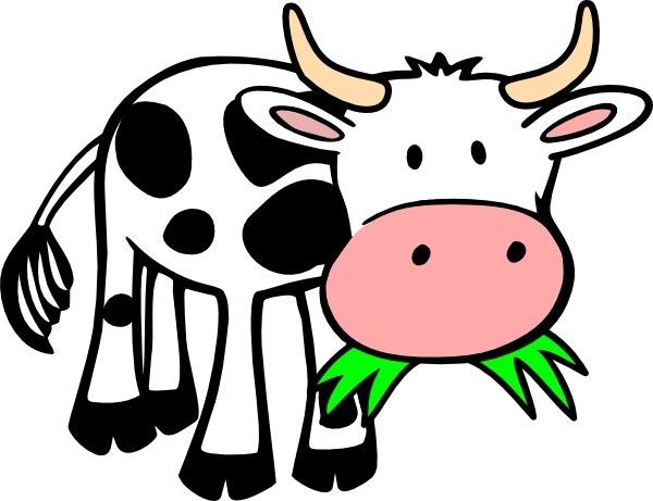 Numbers drawing cow. Clip art eating grass