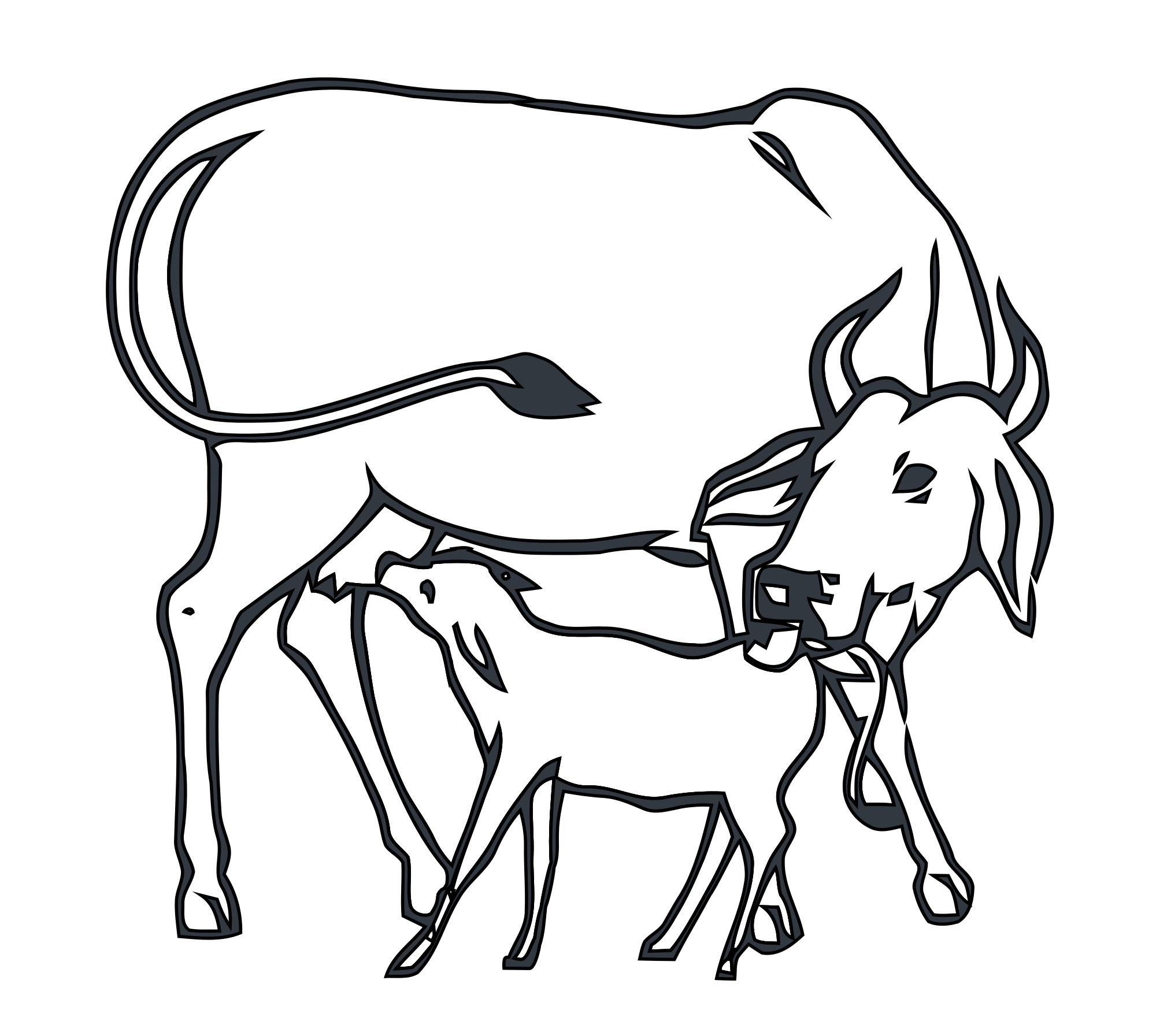 Drawing polygons cow. Collection of indian