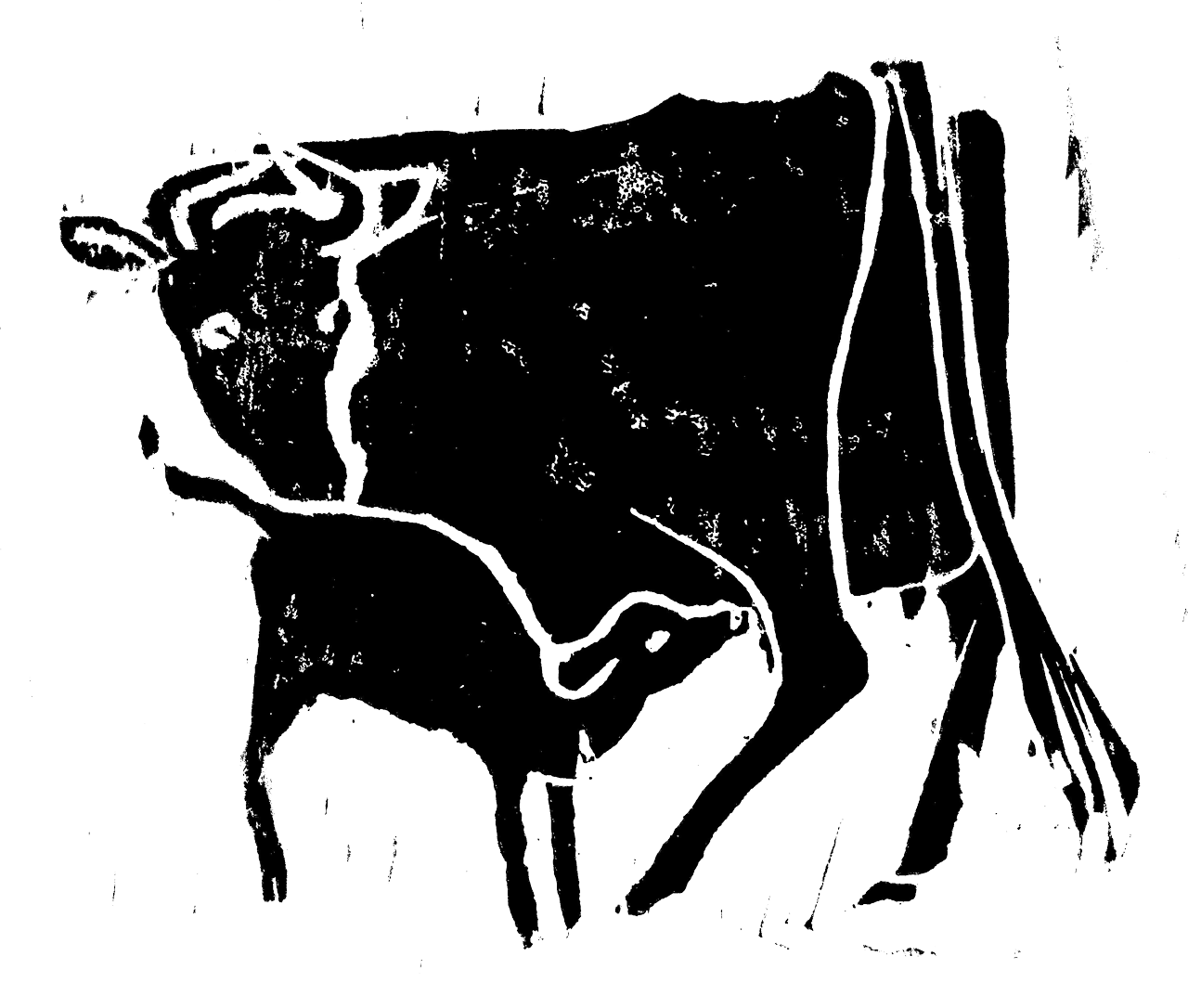 Drawing cow resting. The milk and human