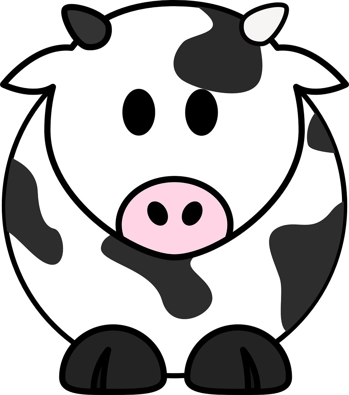 Drawing cow resting. Free image on pixabay
