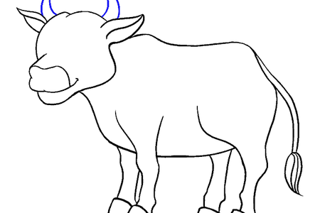 Drawing cow resting. Easy way of k