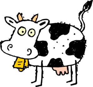 Drawing cow vector. Diseased clip art at