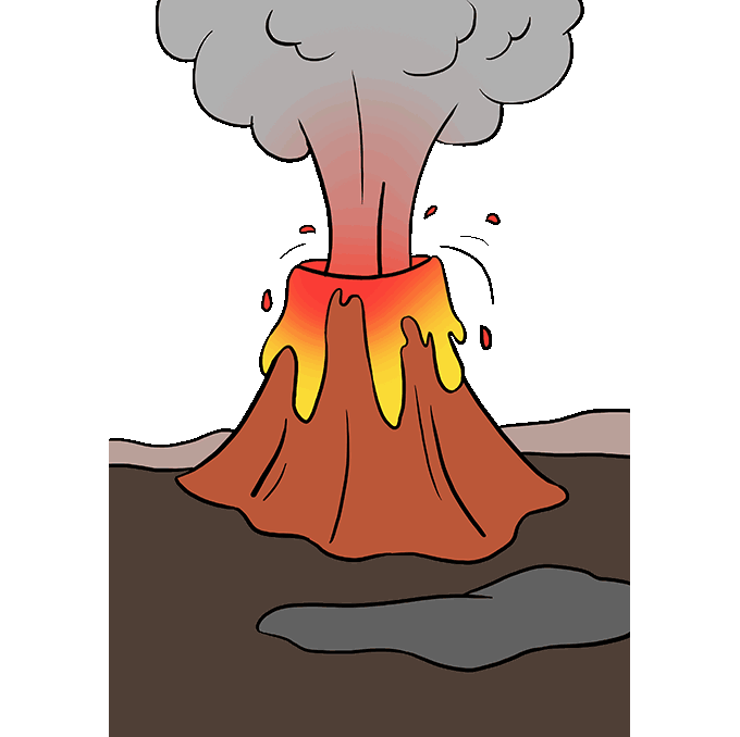 Volcanoes drawing volcanic mountain. How to draw a