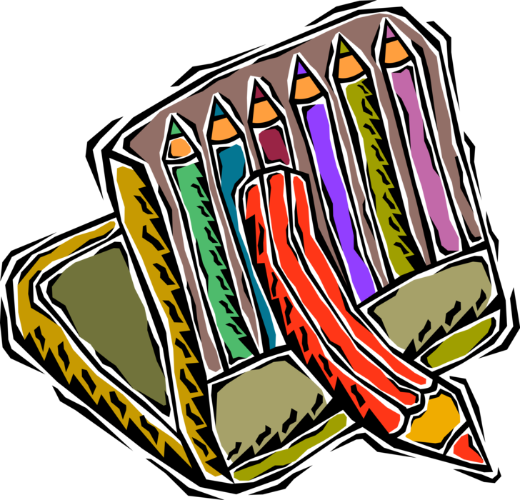 Drawing crayons. Pencil writing or vector