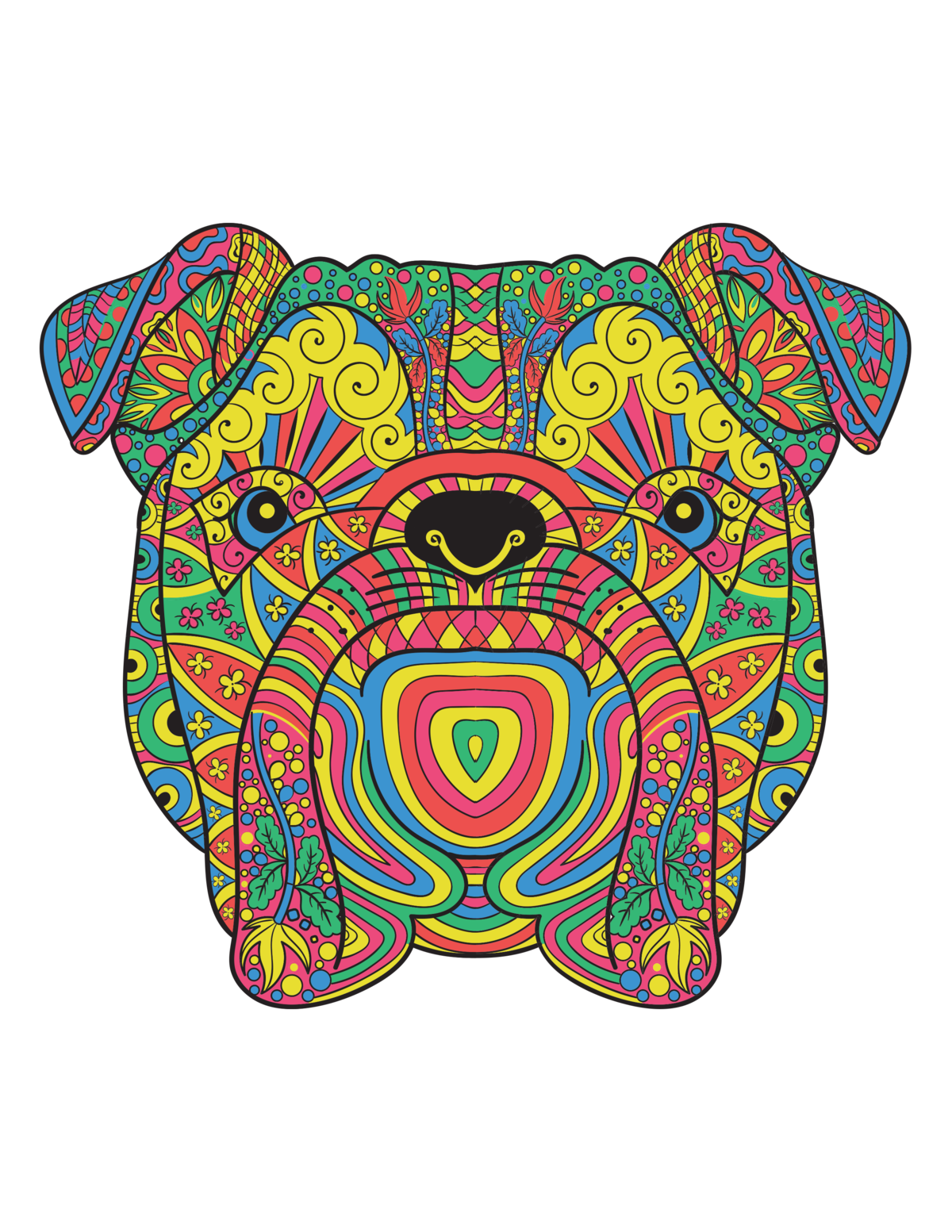 Drawing marker geometric. Adult coloring books animals