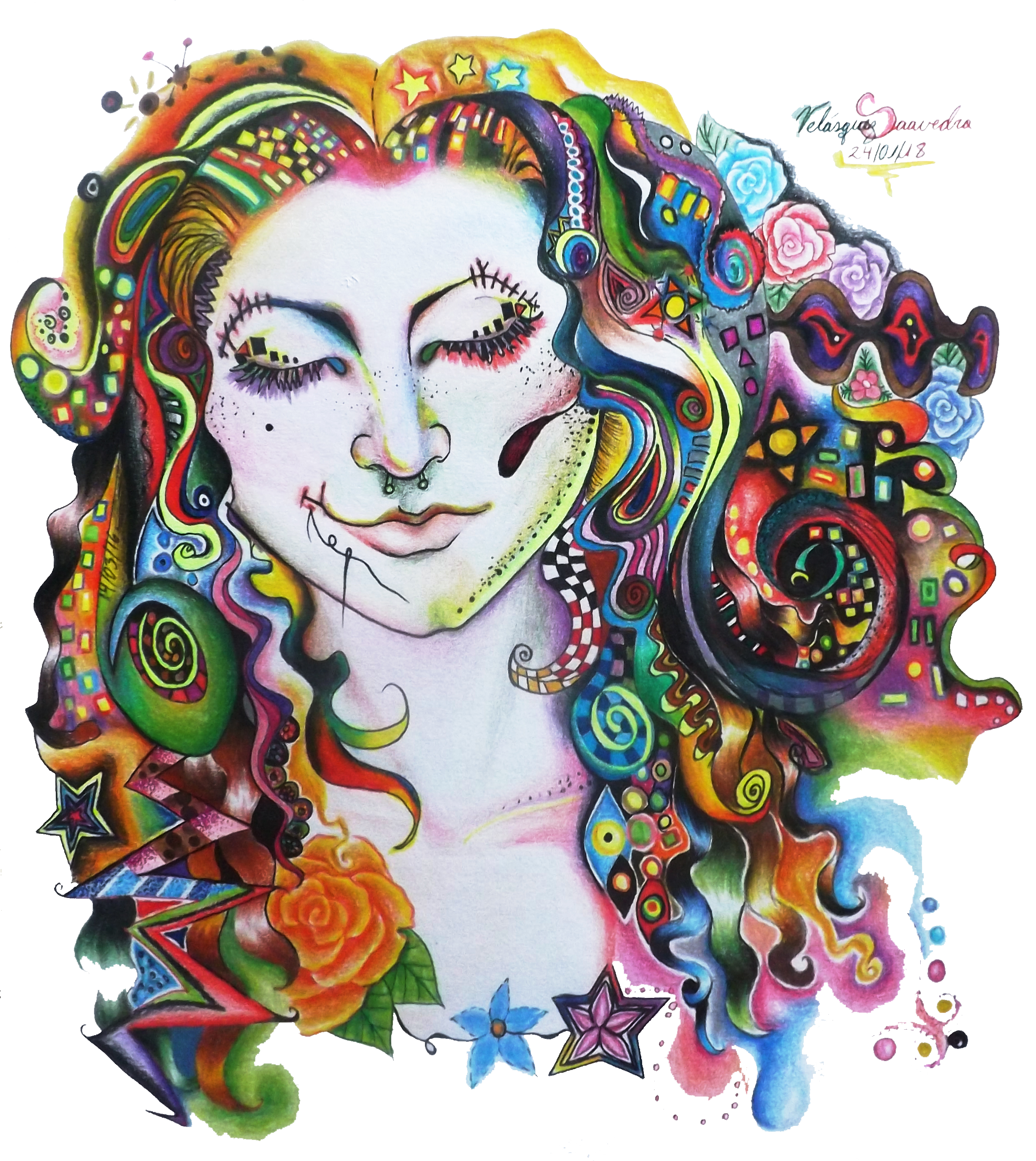 Drawing illustration surreal. Psychedelic girl by rizada