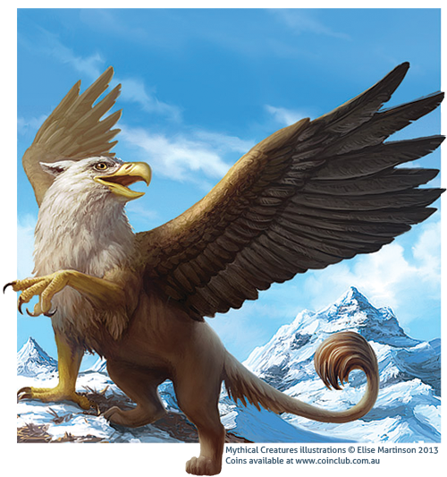 Drawing eagles mythical. Creatures coins griffin by