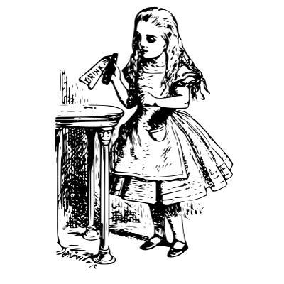 Unique drawing alice in wonderland. Vintage clipart png images