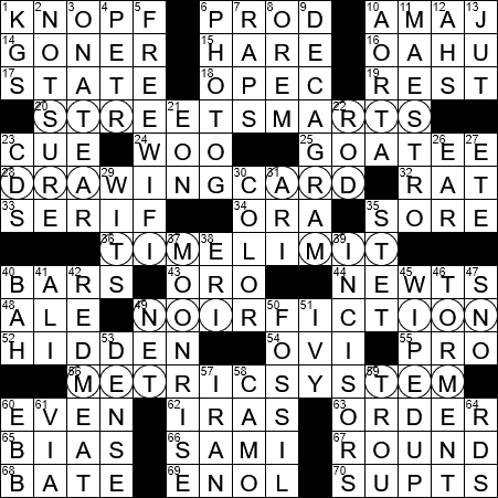 Louisiana drawing themed. La times crossword sep