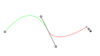 Svg paths bézier curve. Creating end point of