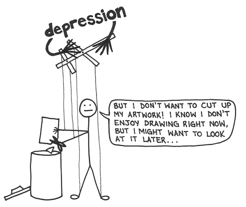 Drawing cutting emo. Me vs depression gwendle