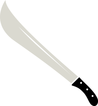 Drawing cut machete. Hair cutting shears scissors