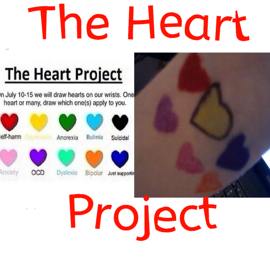 Drawing cut self harm. The heart project by