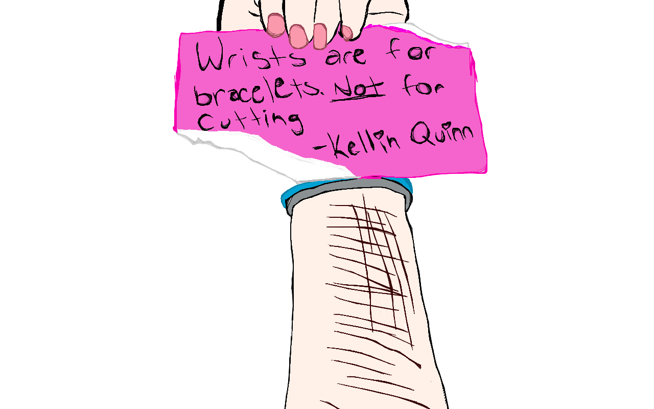 Bullying drawing cut. Collection of wrist