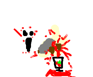 Drawing cutting bloody. Ghost a onion into