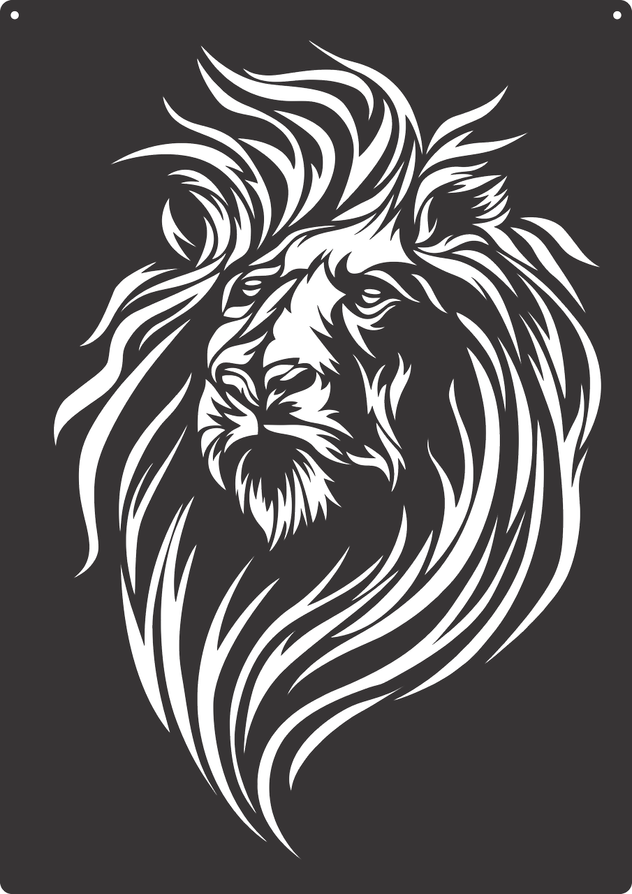 Drawing cutting scratch. Lion cutout paper stencils