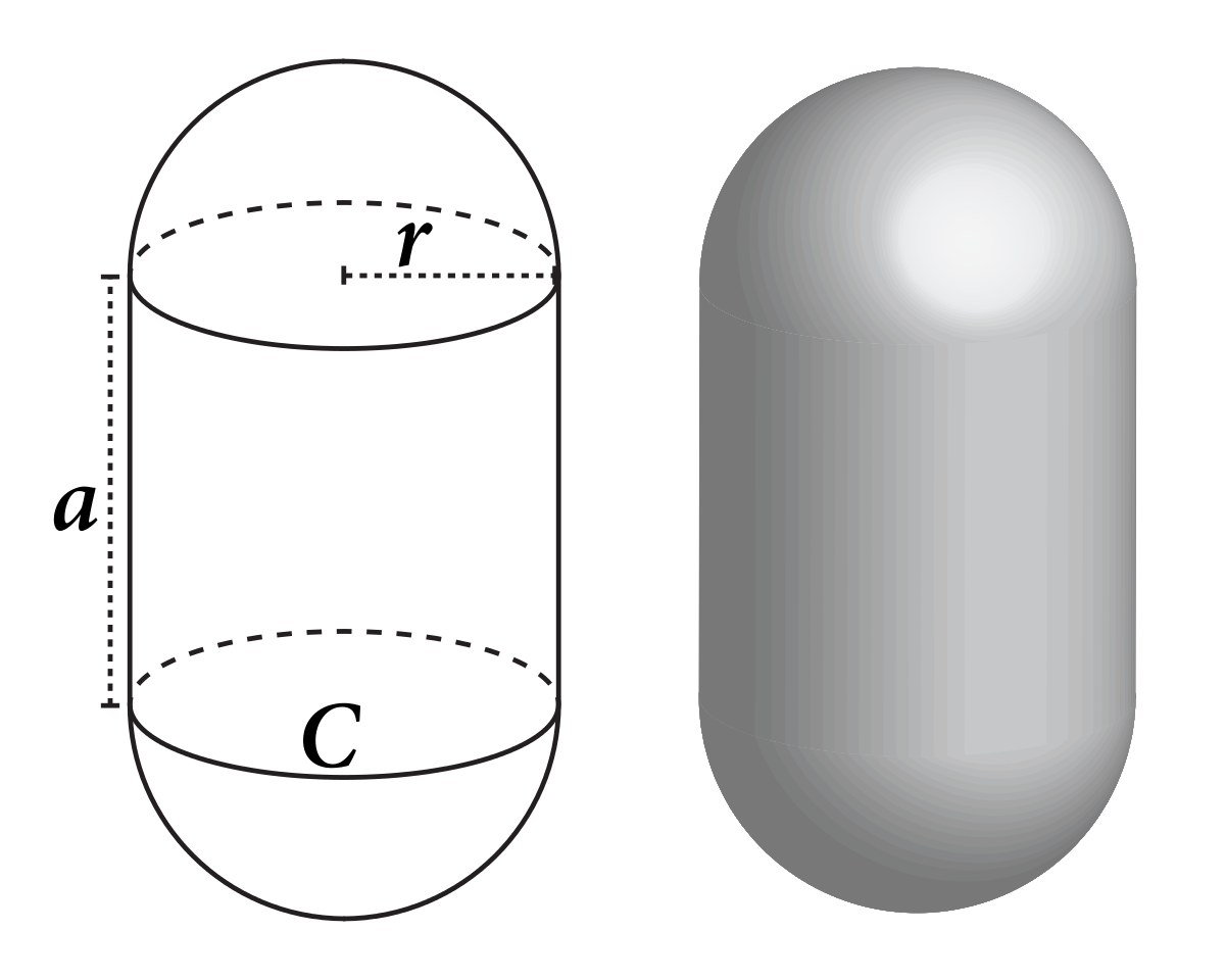 Drawing cylinder sphere. Capsule geometry wikipedia